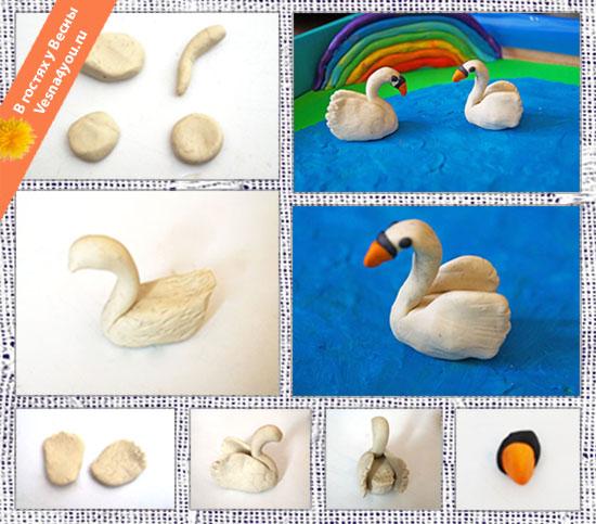 Как сделать из пластилина лебедя